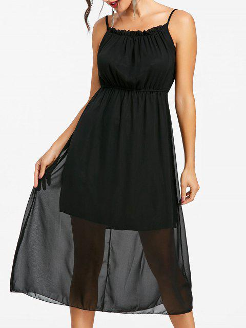 High Waisted Spaghetti Strap Chiffon Dress - BLACK M