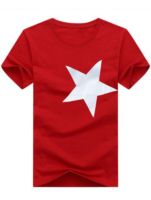 Short Sleeve Crew Neck Star Pattern T-shirt - LOVE RED 5XL