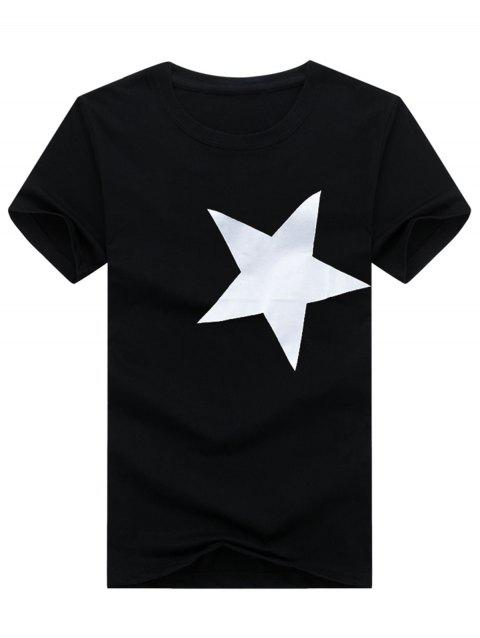 Short Sleeve Crew Neck Star Pattern T-shirt - BLACK 5XL