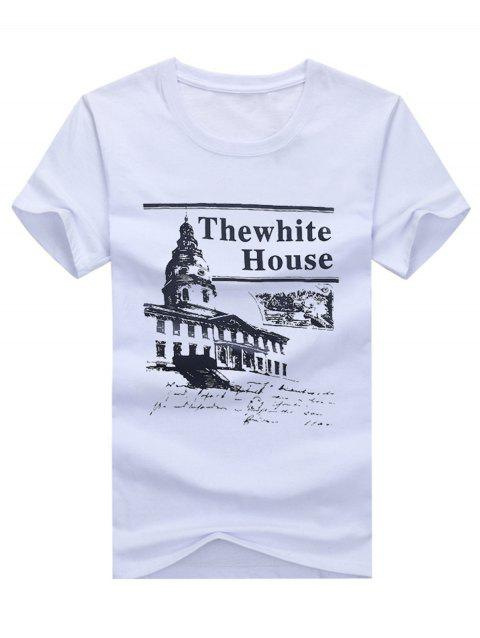 Short Sleeve White House Print Tee - WHITE 3XL