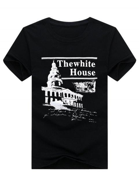 Short Sleeve White House Print Tee - BLACK XL