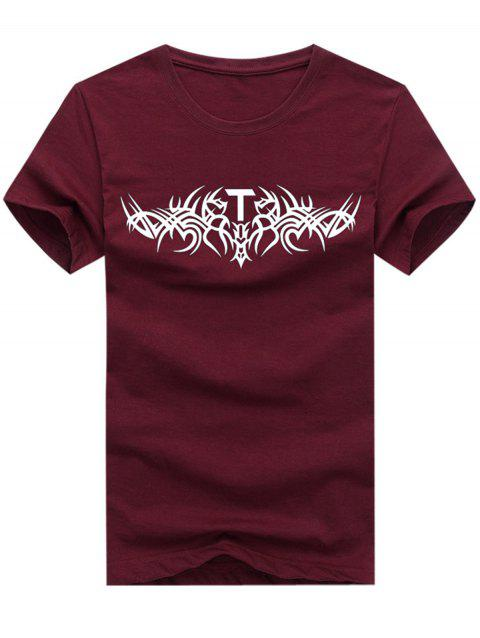 Short Sleeve Crew Neck Totem Print T-shirt - RED WINE 5XL
