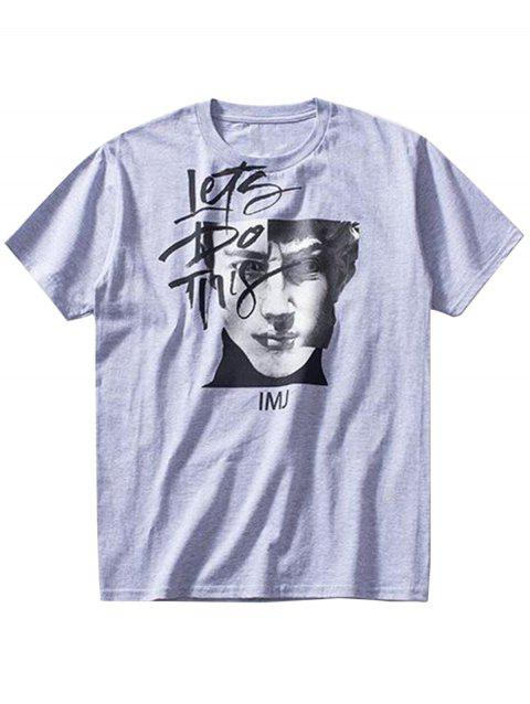 Crew Neck Let's Do This Print Graphic T-shirt - GRAY XL