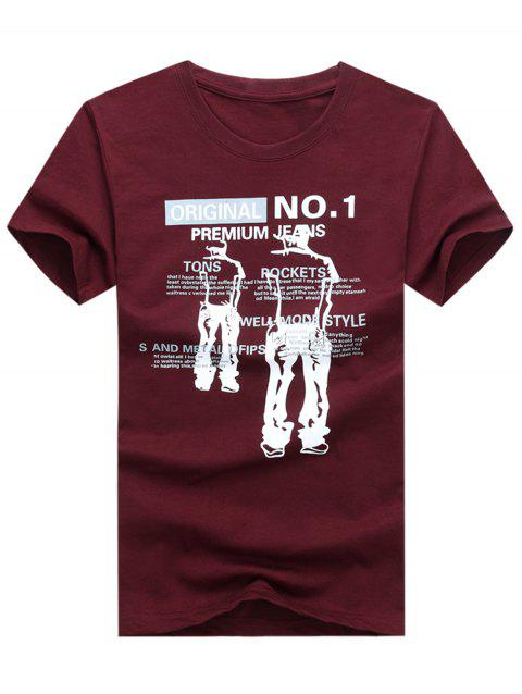 Short Sleeves Graphic T-shirt - RED WINE 3XL