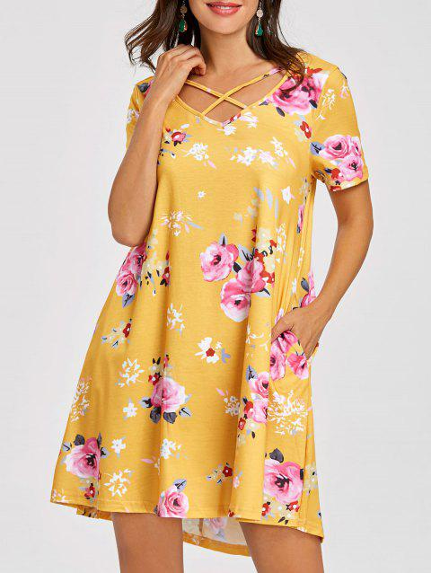 Front Cross Flower Print T-shirt Dress - YELLOW L