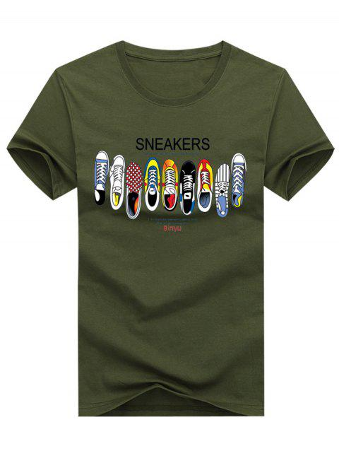 Short Sleeve Crew Neck Cartoon Shoes Pattern Tee - ARMY GREEN 4XL