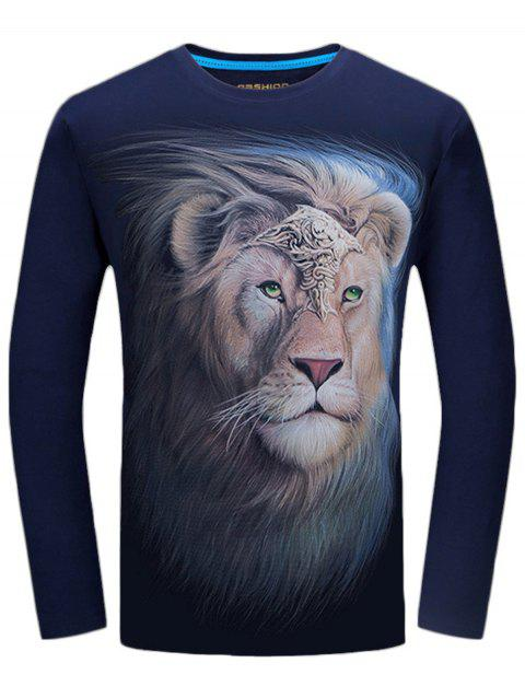 Long Sleeve Crew Neck Lion King Print Tee - MIDNIGHT BLUE 2XL