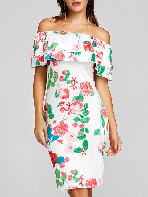Ruffled Off The Shoulder Mini Party Dress - WHITE S