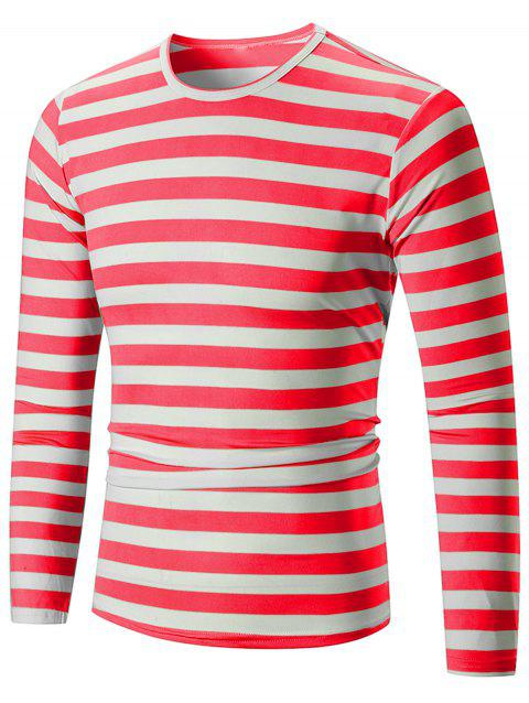 Crew Neck Striped Print T-shirt - CHESTNUT RED L