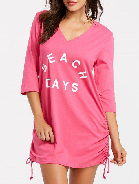Short V Neck Cover Up Dress - ROSE RED XL