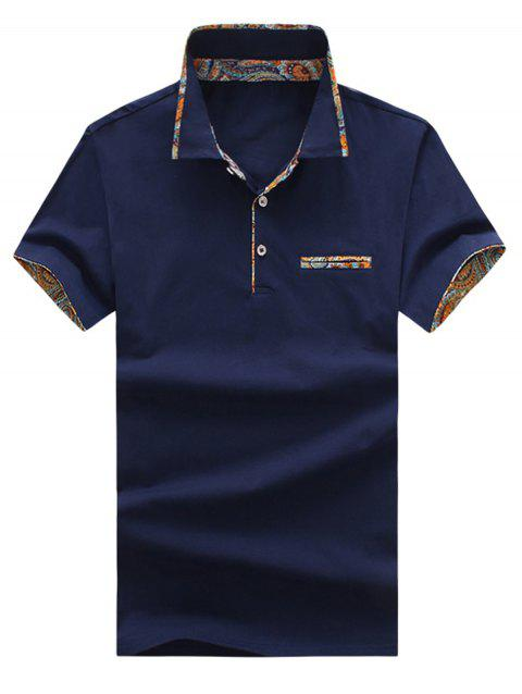 Short Sleeve Floral Splicing Slimming Polo Shirt - DARK SLATE BLUE 3XL