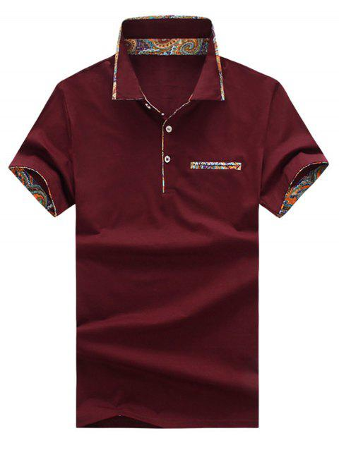 Short Sleeve Floral Splicing Slimming Polo Shirt - RED WINE L