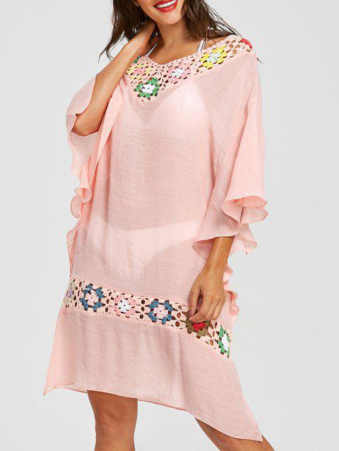 Butterfly Sleeve Crochet V Neck Cover-up - LIGHT PINK ONE SIZE