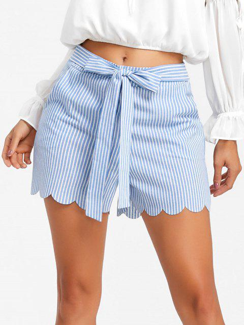 Bowknot Scalloped High Rise Shorts - SKY BLUE L