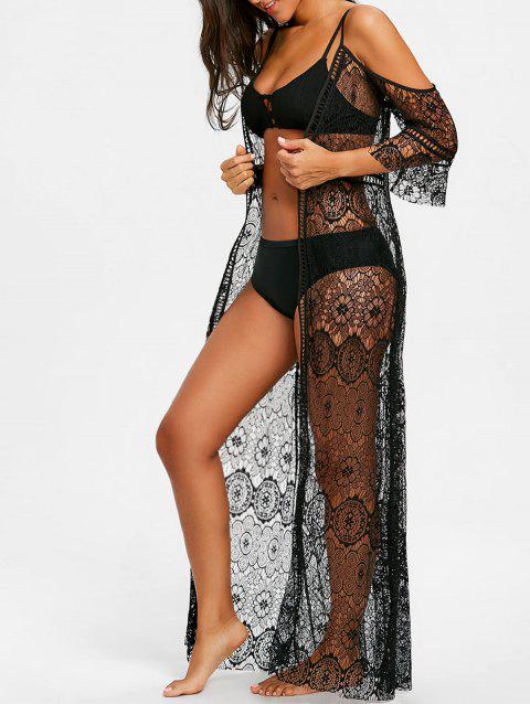 Open Front Maxi Lace Cover Up - BLACK 2XL