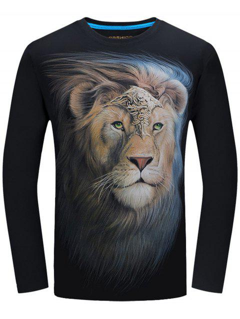 Long Sleeve Crew Neck Lion King Print Tee - BLACK 3XL