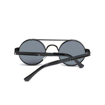Anti UV Crossbar Decorated Round Sunglasses - BLACK/GREY
