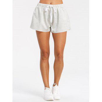 Drawstring Raw Hem Athletic Shorts - GRAY S