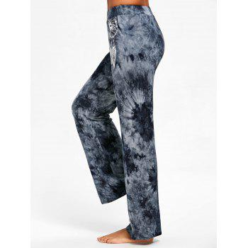 Tie Dye Aeolian Bells Print Wide Leg Pants - BLUE GRAY L
