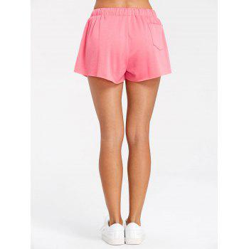 Drawstring Raw Hem Athletic Shorts - PINK XL