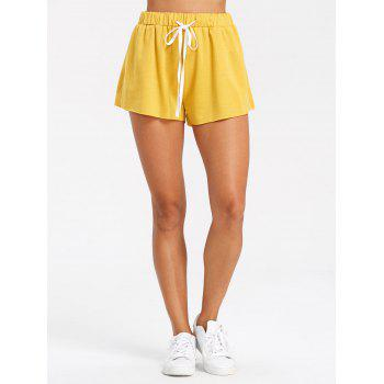 Drawstring Raw Hem Athletic Shorts - YELLOW M