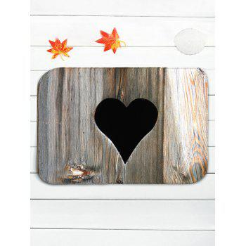 Wood Grain Love Heart Shape Printed Flannel Toilet Rug Set - WOOD
