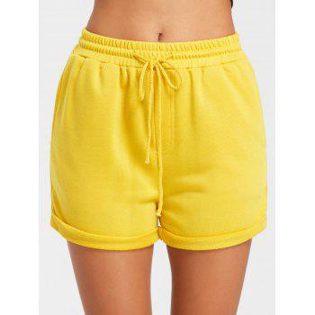 Cuffed Drawstring Jogging Shorts - YELLOW XL