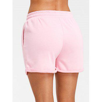 Cuffed Drawstring Jogging Shorts - PINK S