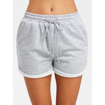 Cuffed Drawstring Jogging Shorts - GRAY L
