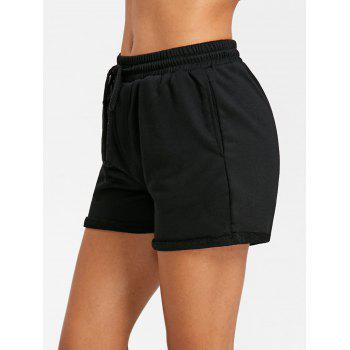 Cuffed Drawstring Jogging Shorts - BLACK M
