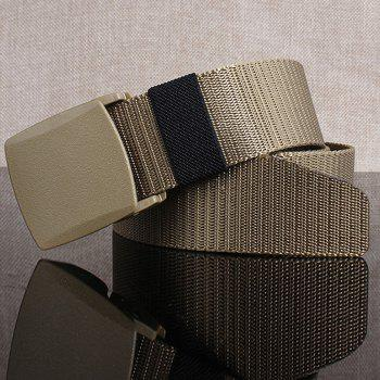 Simple Rectangle Metallic Buckle Canvas Belt - KHAKI