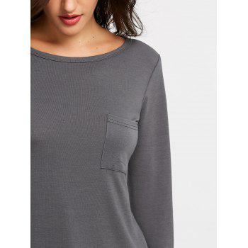Round Neck Chest Pocket T-shirt - GRAY S
