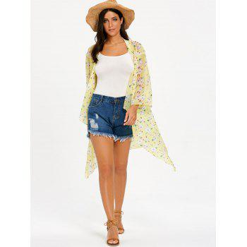 Floral See Through Chiffon Cover Up Kimono - YELLOW S