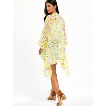 Floral See Through Chiffon Cover Up Kimono - YELLOW M