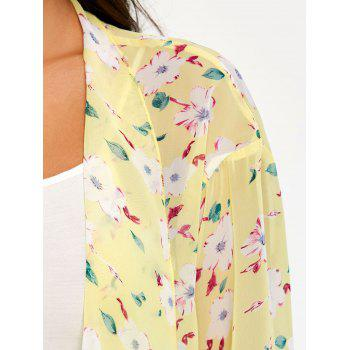 Floral See Through Chiffon Cover Up Kimono - YELLOW L