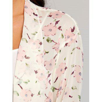 Floral See Through Chiffon Cover Up Kimono - PINK S