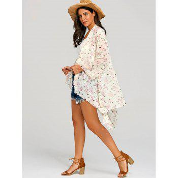 Floral See Through Chiffon Cover Up Kimono - PINK M