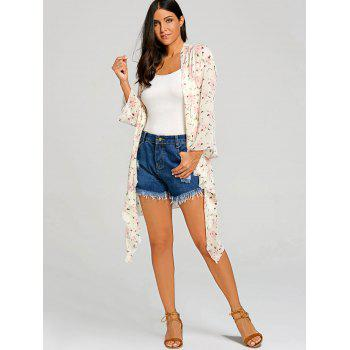 Floral See Through Chiffon Cover Up Kimono - PINK L