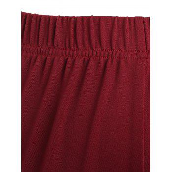 Lace Trim Plus Size Flare Pants - WINE RED 3XL