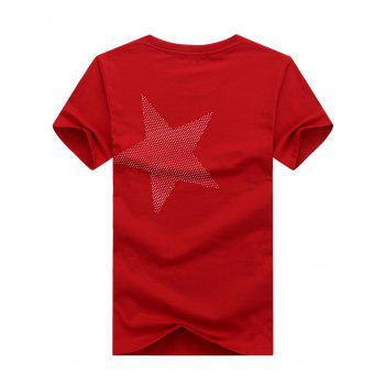 Short Sleeve Crew Neck Star Pattern T-shirt - LOVE RED XL