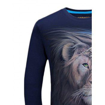 Long Sleeve Crew Neck Lion King Print Tee - MIDNIGHT BLUE L