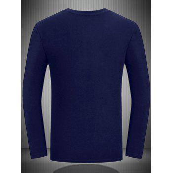 Animal Print Crew Neck Long Sleeve Tee - MIDNIGHT BLUE L