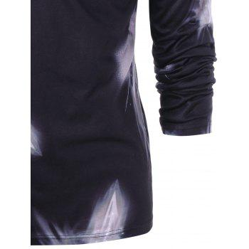 Abstract Graphic V Neck T-shirt - BLACK M