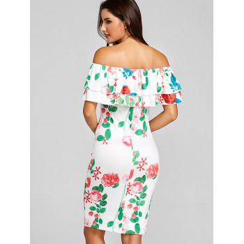 Ruffled Off The Shoulder Mini Party Dress - WHITE L