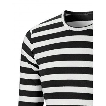 Crew Neck Striped Print T-shirt - BLACK 5XL
