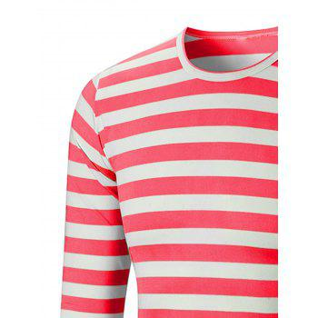 Crew Neck Striped Print T-shirt - CHESTNUT RED 5XL