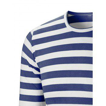 Crew Neck Striped Print T-shirt - ROYAL BLUE 2XL