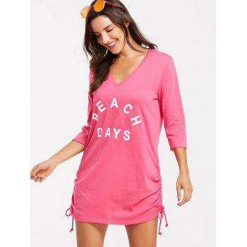 Short V Neck Cover Up Dress - ROSE RED S