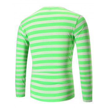 Crew Neck Striped Print T-shirt - STOPLIGHT GO GREEN XL