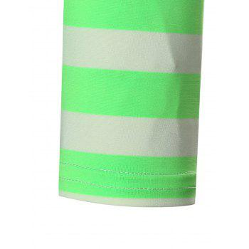 Crew Neck Striped Print T-shirt - STOPLIGHT GO GREEN 5XL